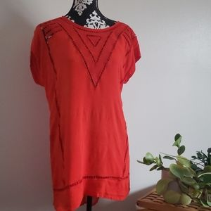 Long Red gauzy blouse